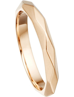 ASTLEY CLARKE Faceted 18ct rose-gold vermeil stacking ring