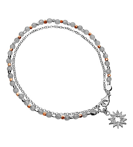 ASTLEY CLARKE Silver sun friendship bracelet with diamond and rose quartz (Pink, silver