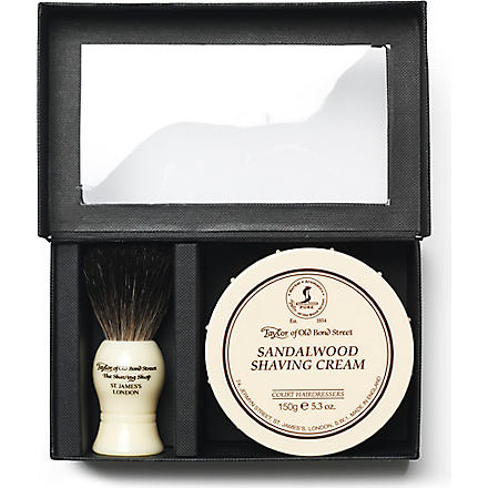 TAYLOR OF OLD BOND STREET Pure Badger luxury brush and cream gift set