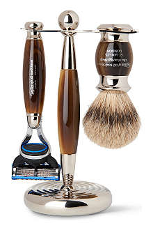 TAYLOR OF OLD BOND STREET Horn Edwardian shaving set with Fusion razor