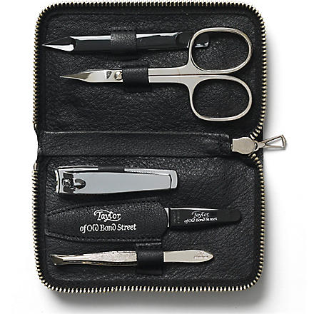 TAYLOR OF OLD BOND STREET Manicure set in leather case (Black