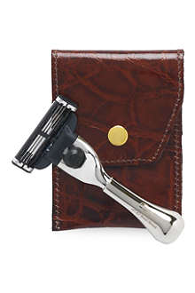 TAYLOR OF OLD BOND STREET Mach3 Nickel razor in leather case