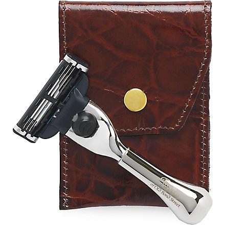 TAYLOR OF OLD BOND STREET Mach3 Nickel razor in leather case (Imitation+ivory
