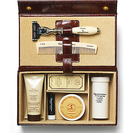 TAYLOR OF OLD BOND STREET Grooming box in brown mock-croc leather (Brown