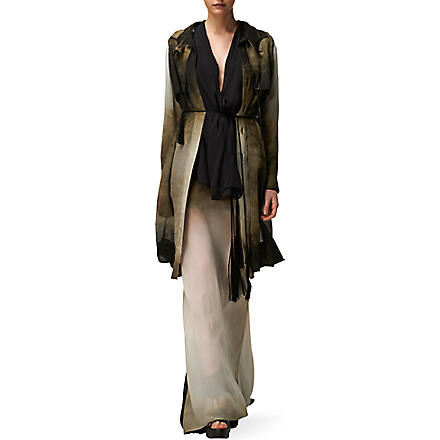 ANN DEMEULEMEESTER Silk dégradé coat and skirt