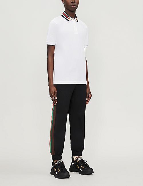 GUCCI Tiger-embroidered cotton-pique polo shirt
