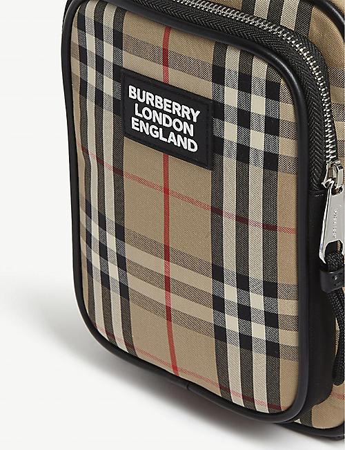 BURBERRY Freddy check canvas reporter bag