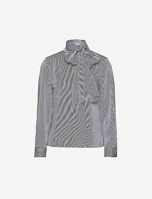 TED BAKER德雷达条纹宽松褶皱衬衫