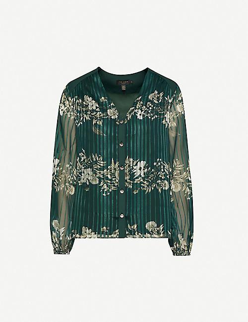 TED BAKER 伊夫利因花卉印花金属纱布衬衫