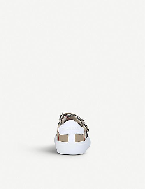 BURBERRY 马克姆格纹印花帆布运动鞋 0-3 岁