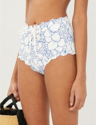 Riviera scalloped lace-up high-rise bikini bottoms