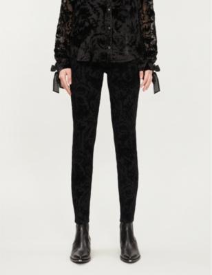 Hoxton patterned skinny high-rise velvet jeans