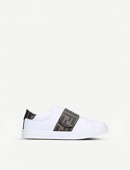 FENDI Logo-print leather trainers 7-10 years