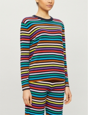 Striped wool and cashmere-blend jumper
