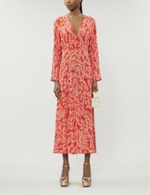 Sonja leaf-print crepe maxi-dress