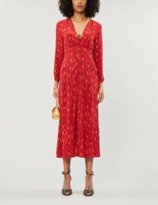 Katie printed woven midi dress