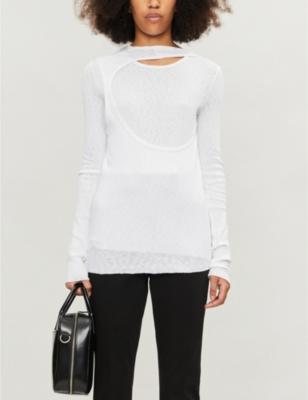 Layered ribbed cotton-jersey T-shirt