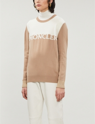 Logo-embroidered wool and cashmere-blend jumper