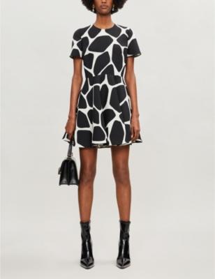 Giraffe-print wool and silk-blend mini dress