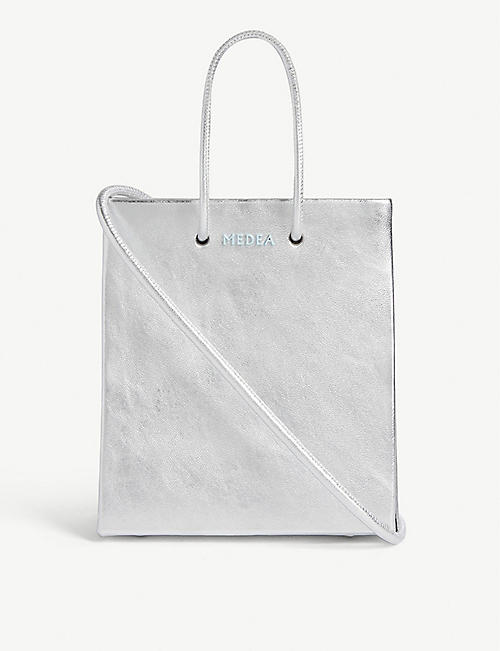 MEDEA Prima metallic leather tote