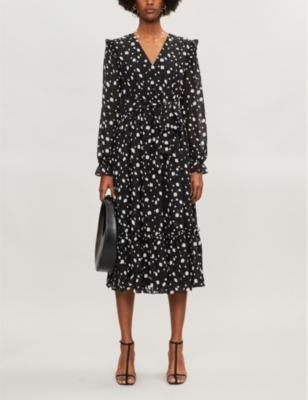 Dotty swarovski-embellished print crepe midi dress