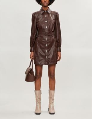 Button-through faux-leather mini dress