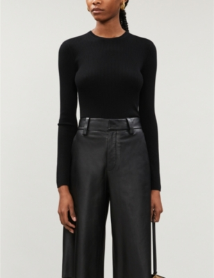 Round-neck ribbed wool-blend jumper