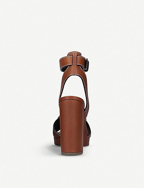VALENTINO V logo-embellished leather heeled sandals