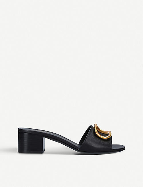 VALENTINO Vintage logo-embellished leather heeled mules