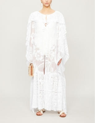 Lace-embroidered woven kaftan