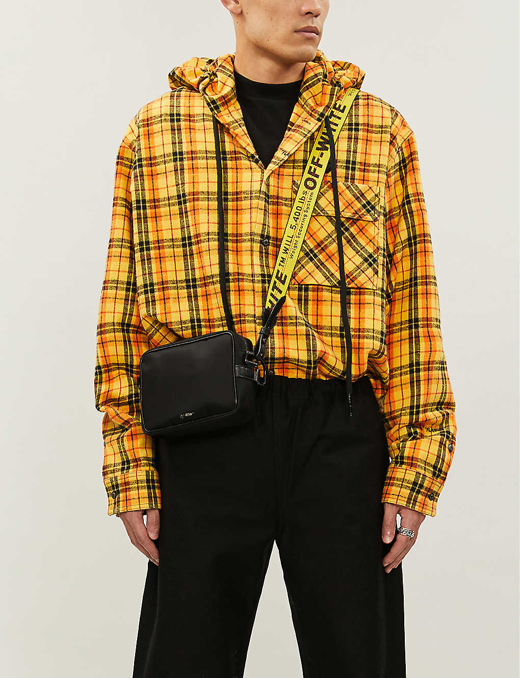 Checked cotton-blend hooded shirt(8504669)