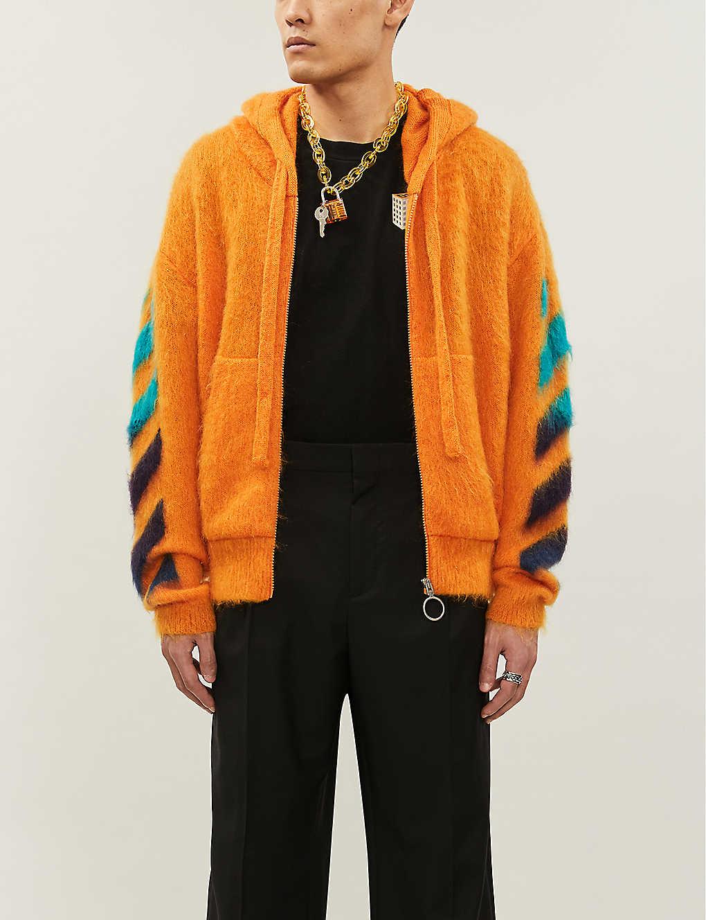 Brand-print waffle-knit mohair-blend hoody(8503768)