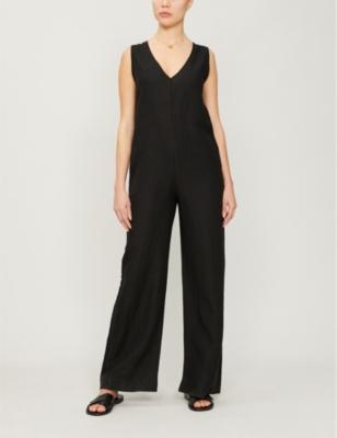 V-neck linen jumpsuit