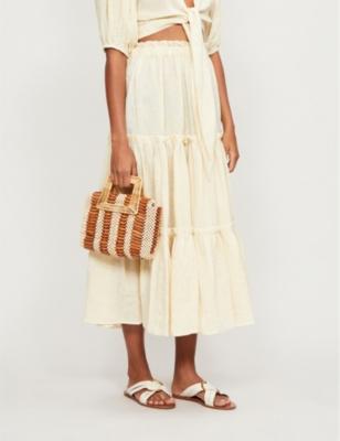 Ruffled linen-blend midi peasant skirt