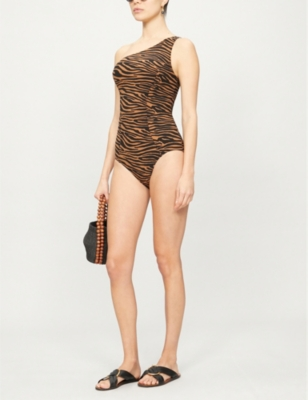 Arden asymmetric printed swimsuit