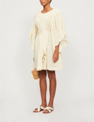Angel-sleeve linen mini dress