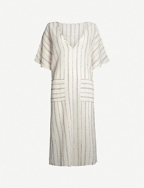EBERJEY 条纹金属棉混纺中长裙