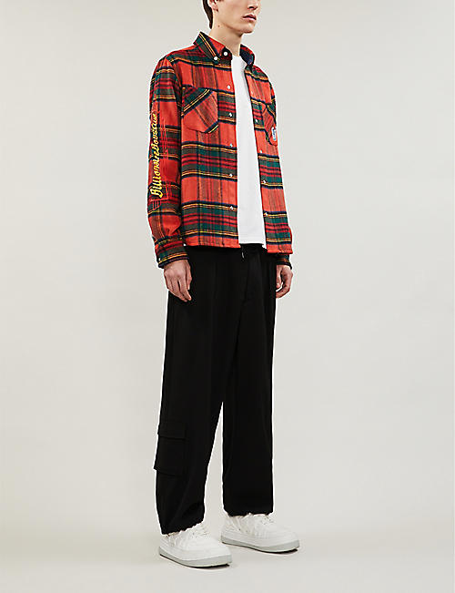 BILLIONAIRE BOYS CLUB Logo-embroidered relaxed-fit flannel shirt