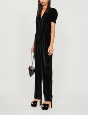 Melody V-neck velvet jumpsuit