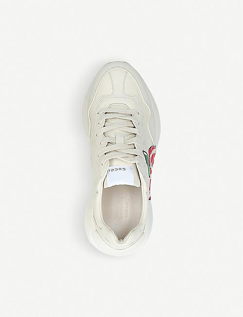 GUCCI Rhyton apple-print leather trainers
