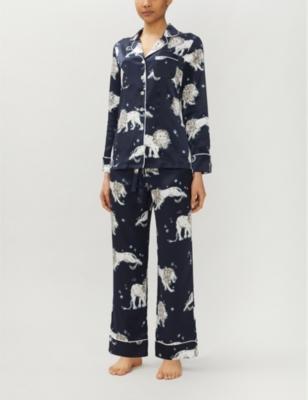 Lila Nefertiti lion-print silk pyjama set