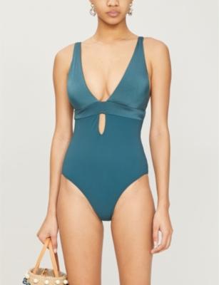 Lustrous V-neck stretch-jersey swimsuit