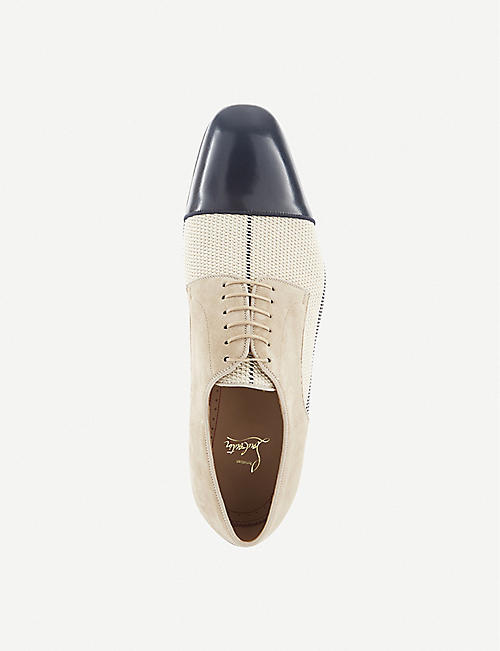 CHRISTIAN LOUBOUTIN Top Daviol leather and woven Oxford shoes