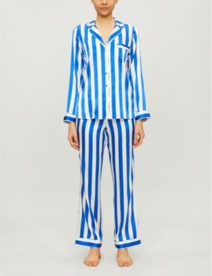 Striped stretch-silk pyjama set