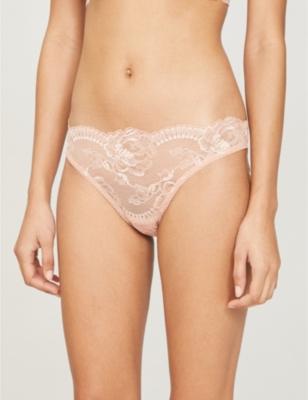 Brigitta floral-print mid-rise stretch-lace briefs
