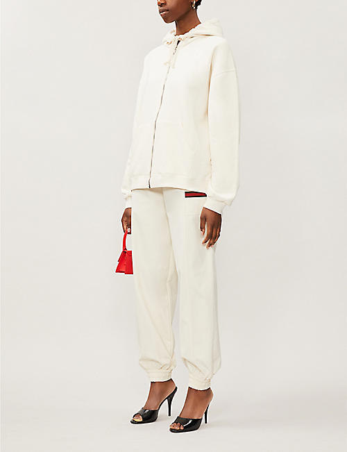 GUCCI Logo-embroidered high-rise canvas jogging bottoms