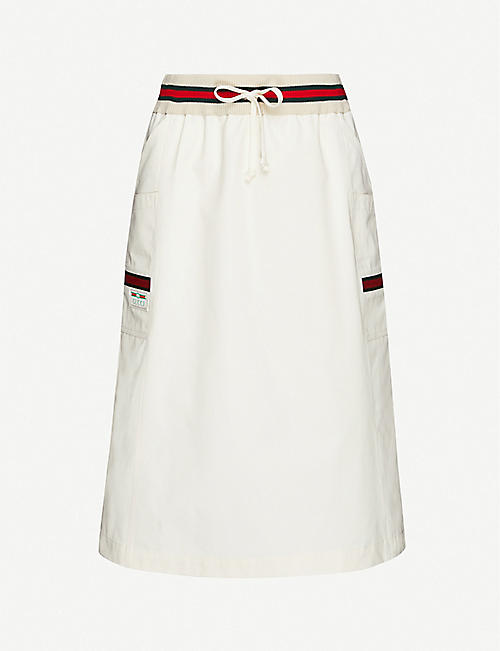 GUCCI Striped-panel cotton skirt