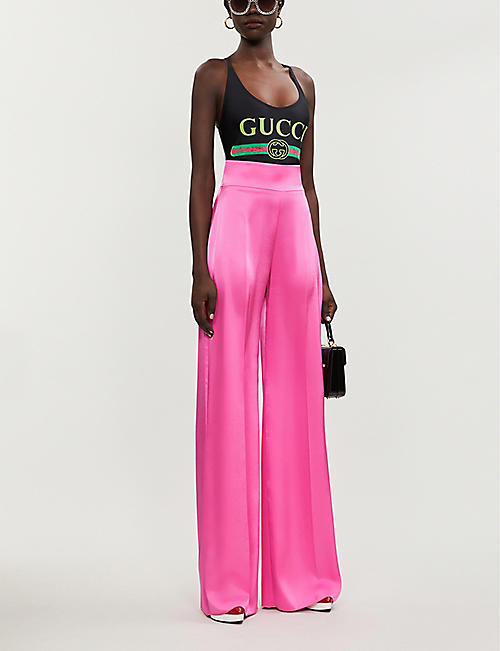 GUCCI Brand-print crossover stretch-jersey body