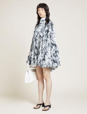 Printed asymmetric satin mini dress