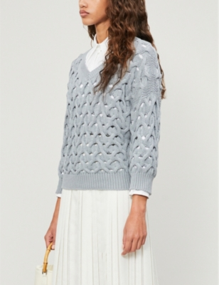 Crochet cotton-blend knit jumper